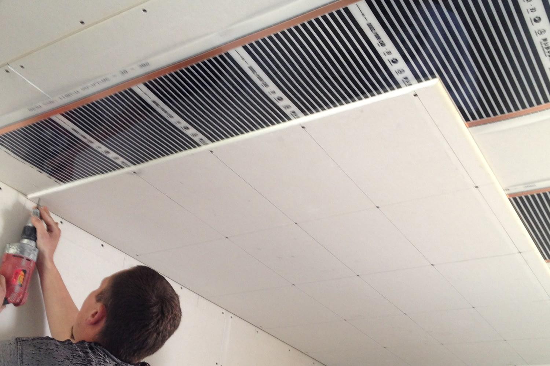 Infra fűtőfilm rögzítése 2 gipszkarton közé mennyezetre 13